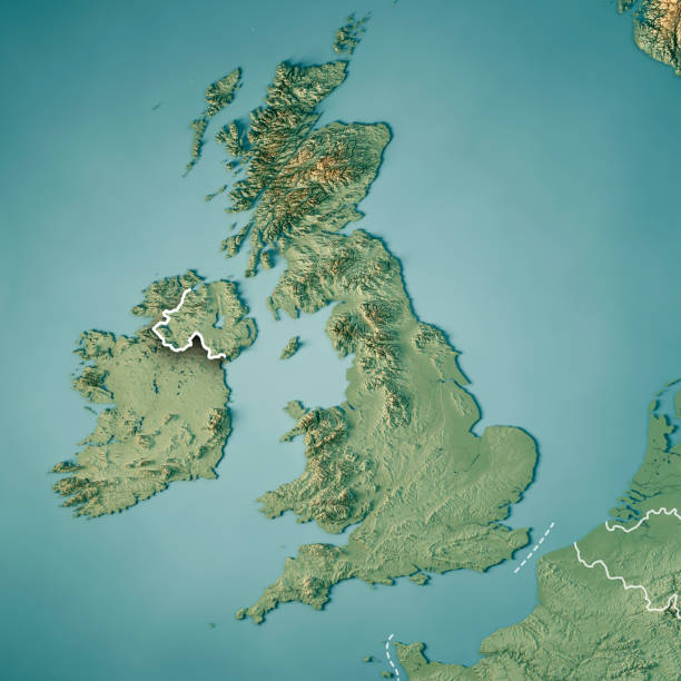 united kingdom country 3d render topographic map border - english channel stock pictures, royalty-free photos & images