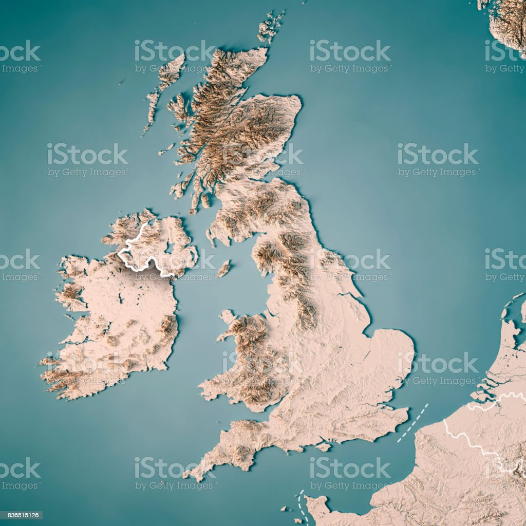 United Kingdom Country 3D Render Topographic Map Neutral Border stock photo
