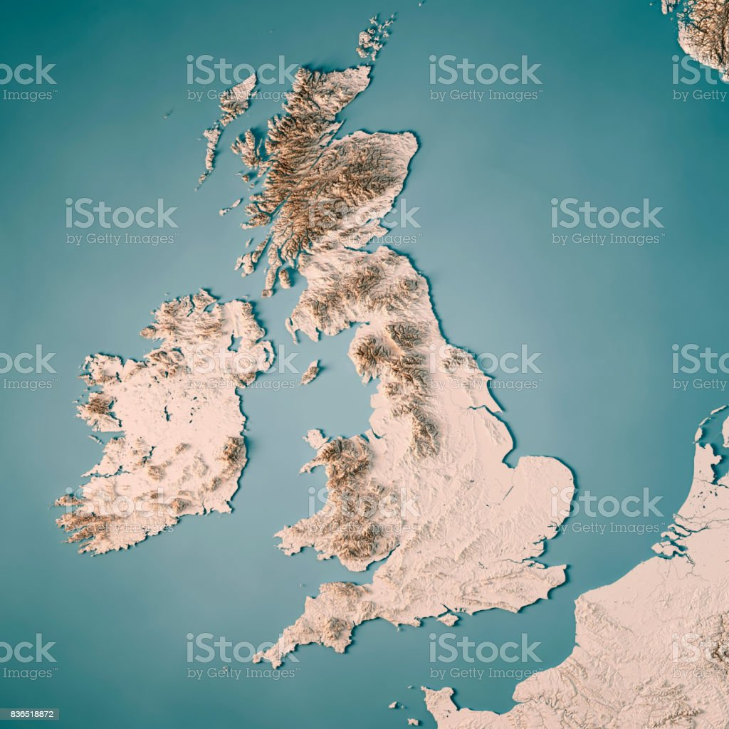 3d Terrain Map Of Uk.United Kingdom Country 3d Render Topographic Map Neutral Stock Photo