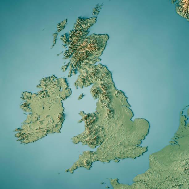 reino unido país 3d render mapa topográfico - reino unido - fotografias e filmes do acervo