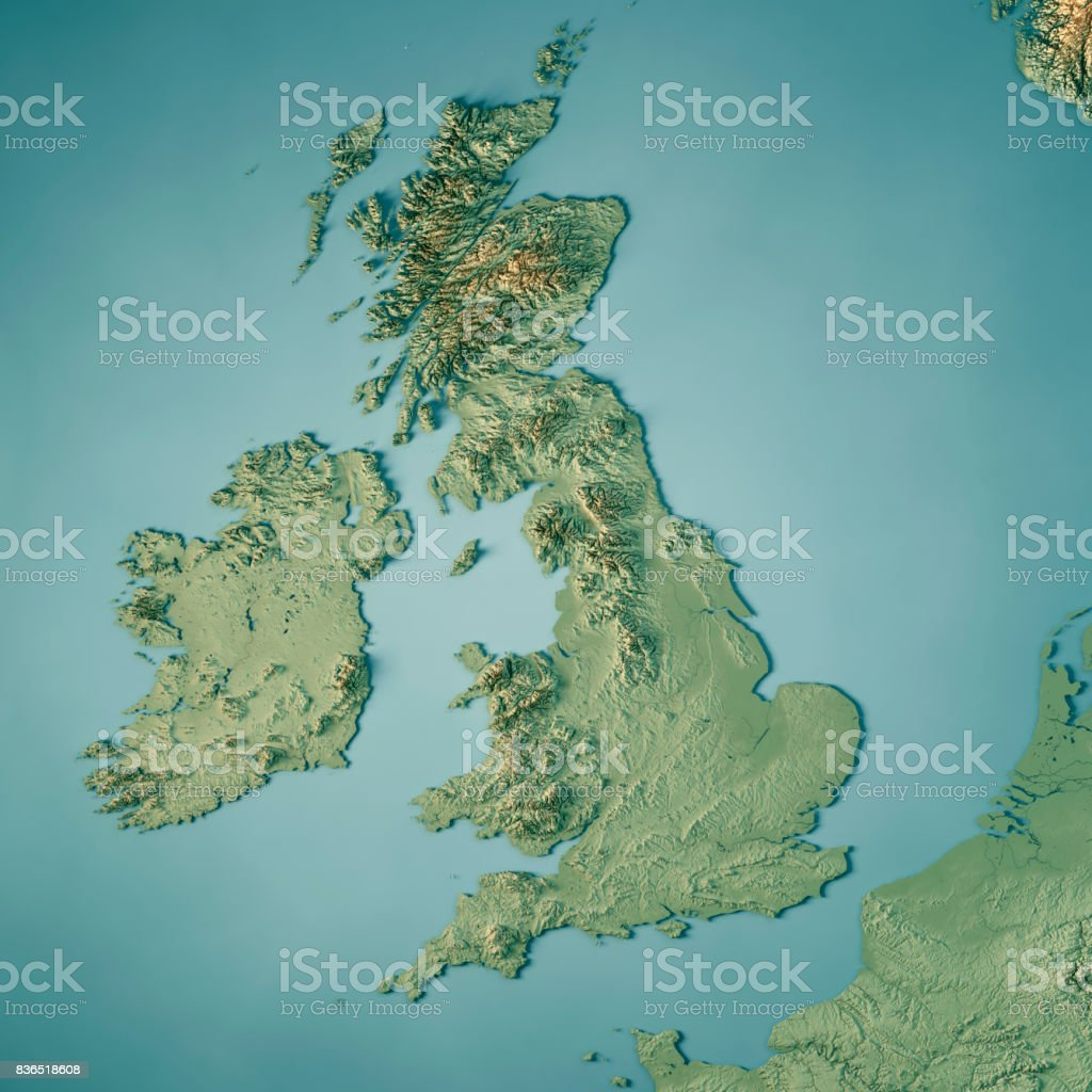 United Kingdom Country 3D Render Topographic Map stock photo