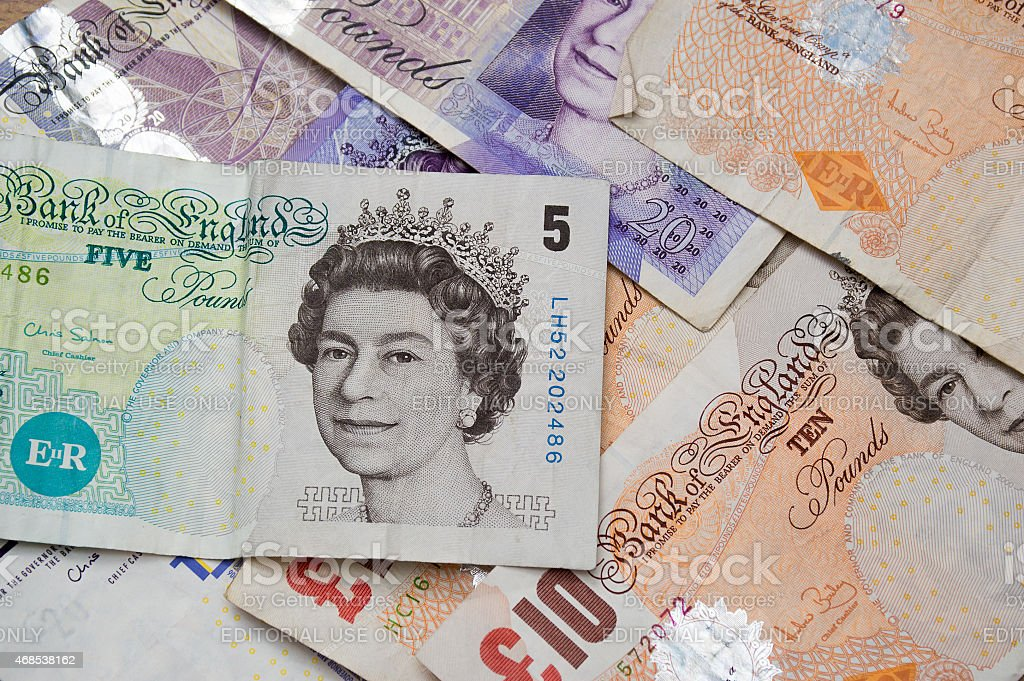 United Kingdom Five, Ten and Twenty Pound Notes stock photo