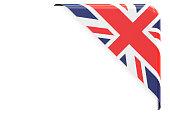 United Kingdom flag corner, button, label. 3D rendering