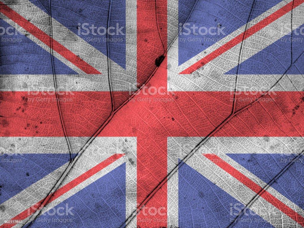 United Kingdom flag leaf texture stock photo