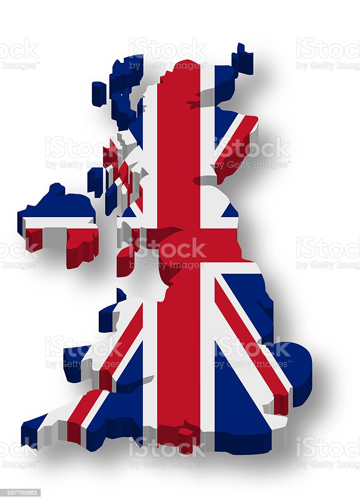 3D United Kingdom Flag Map stock photo