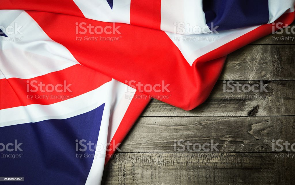 United Kingdom flag on wooden table Lizenzfreies stock-foto
