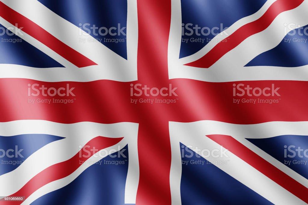 United Kingdom flag, Realistic illustration stock photo