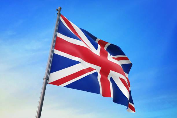 영국 국기는 푸른 하늘에 - 영국 국기 뉴스 사진 이미지