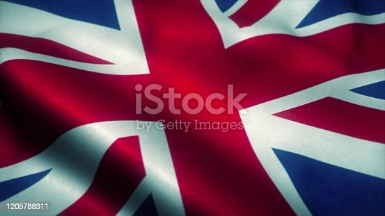 United Kingdom flag waving in the wind. National flag of United Kingdom. Sign of United Kingdom. 3d illustration.