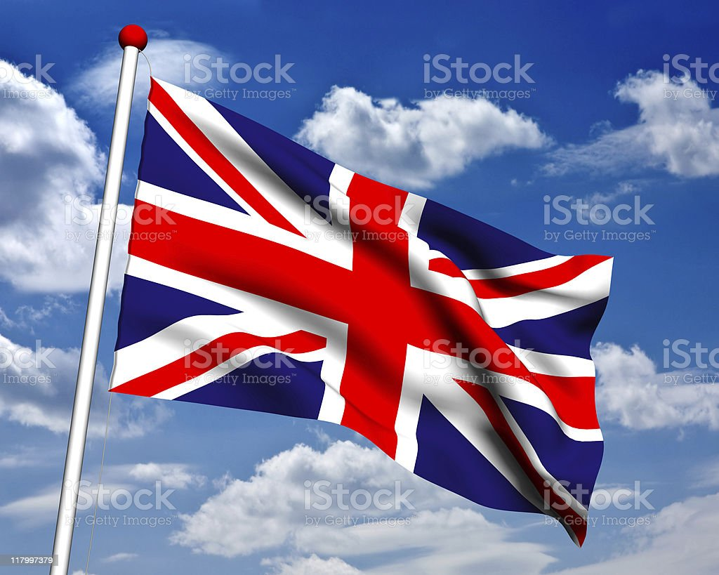 3D United Kingdom flag with clipping path royalty-free stock photo