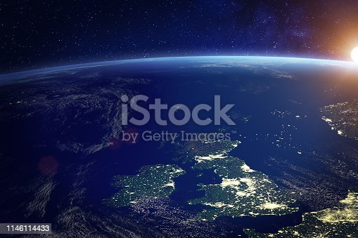 United Kingdom (UK) from space at night with city lights of the City of London, England, Wales, Scotland, Northern Ireland, communication technology, 3d render of planet Earth, elements from NASA (https://eoimages.gsfc.nasa.gov/images/imagerecords/57000/57752/land_shallow_topo_21600.tif)