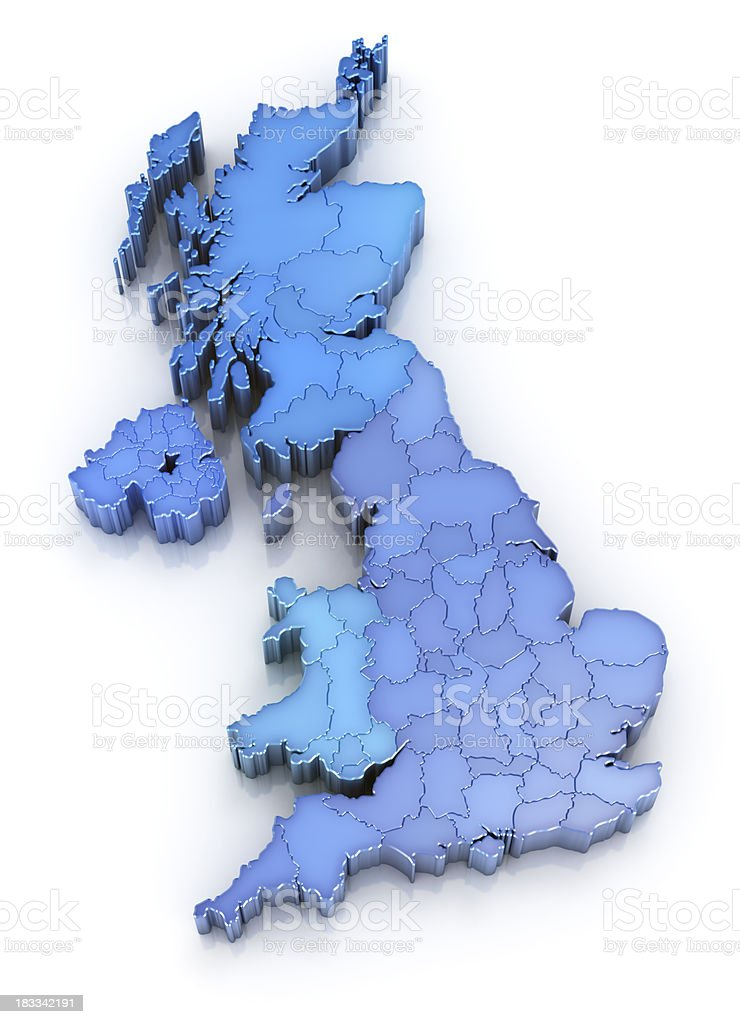 United Kingdom map with regions royalty-free stock photo