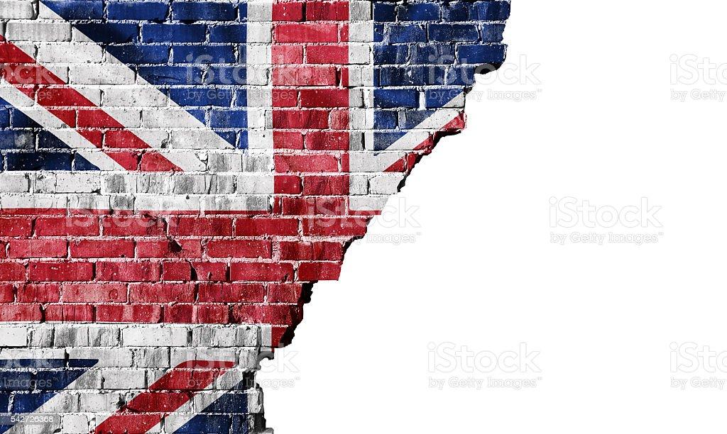 United kingdom - National flag on a broken Brick wall stock photo