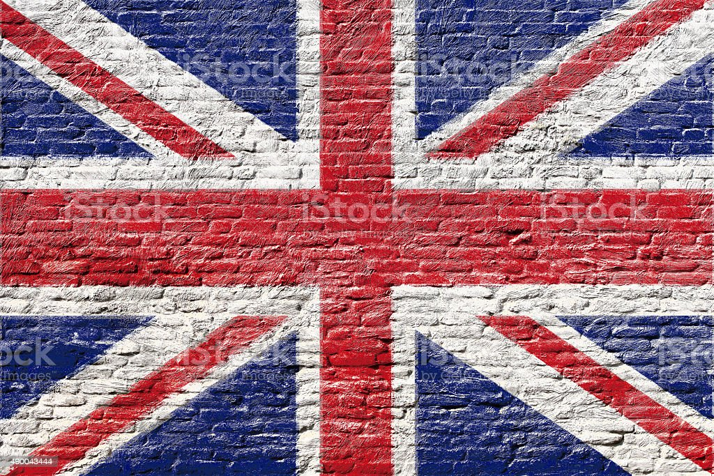 United kingdom - National flag on Brick wall stock photo