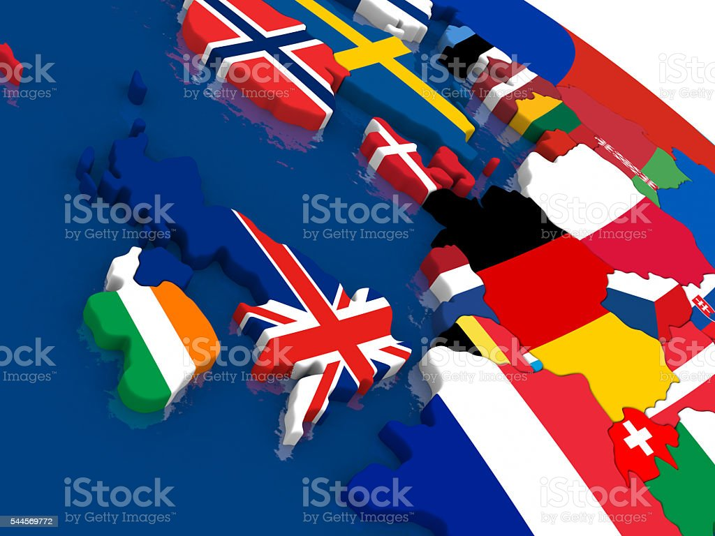 United Kingdom on 3D map with flags stock photo