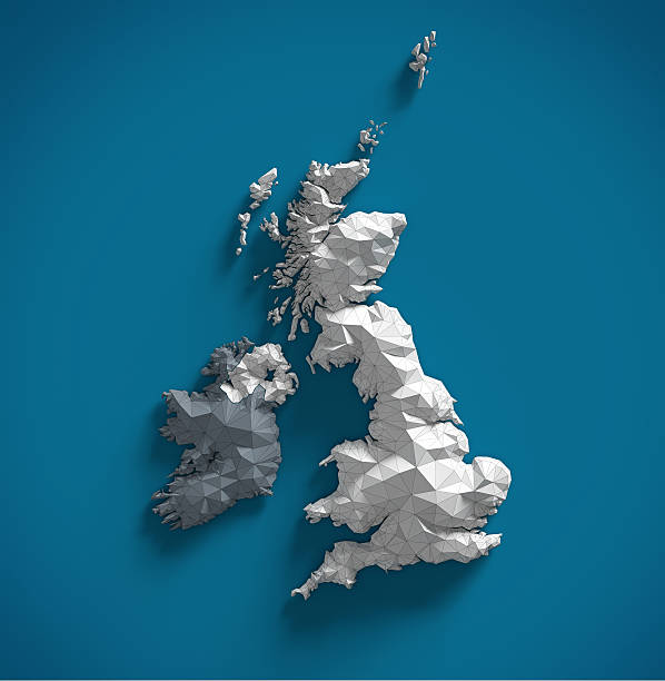 United Kingdom Map of United Kingdom made in polygonal style uk map stock pictures, royalty-free photos & images