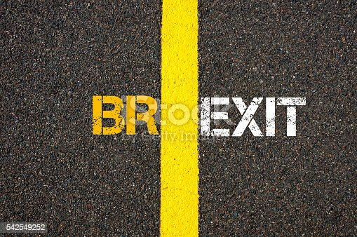 Concept of BREXIT, UK United Kingdom versus EU EUROPEAN UNION written over tarmac, road marking yellow paint separating line between words