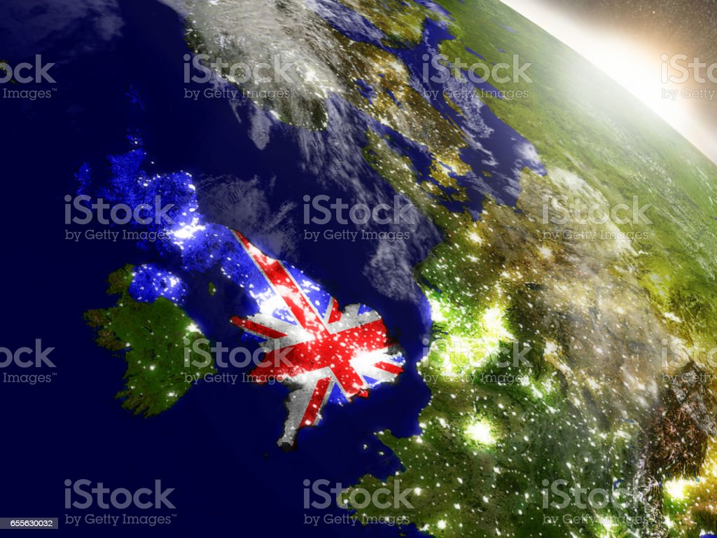 United Kingdom with flag in rising sun stock photo
