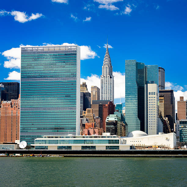 United Nations and Manhattan skyline, New York stock photo