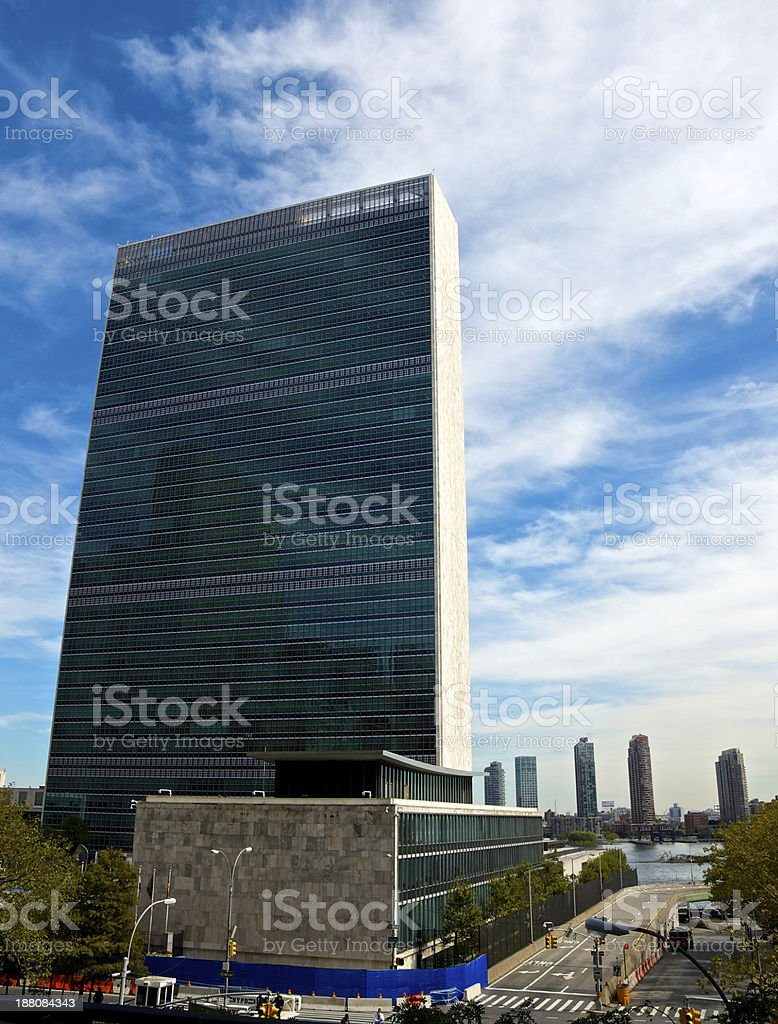 United Nations Building Cityscape, E.42nd Street, Manhattan, New York City royalty-free stock photo