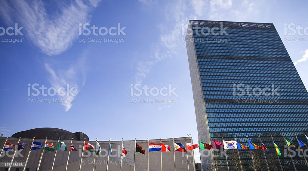 United Nations Building with Flags stock photo