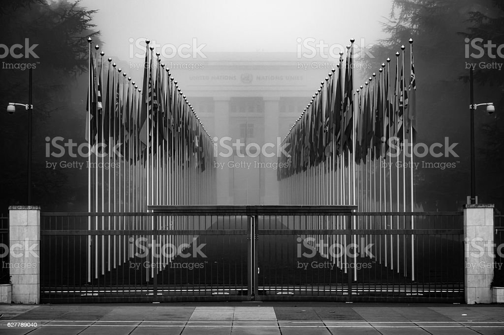 United Nations Closed Gate Geneva Switzerland stock photo