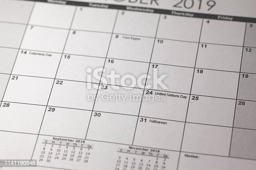 istock United Nations Day 2019, Thursday, October 24. United nations day in selective focus on October 2019 calendar. 1141190345