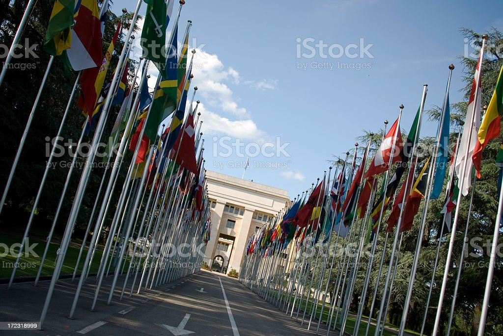 United Nations European Headquarters, Geneva stock photo