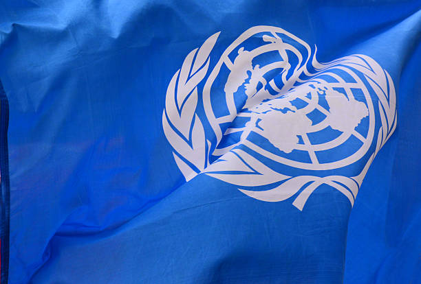 united nations flag in close up - united nations 뉴스 사진 이미지
