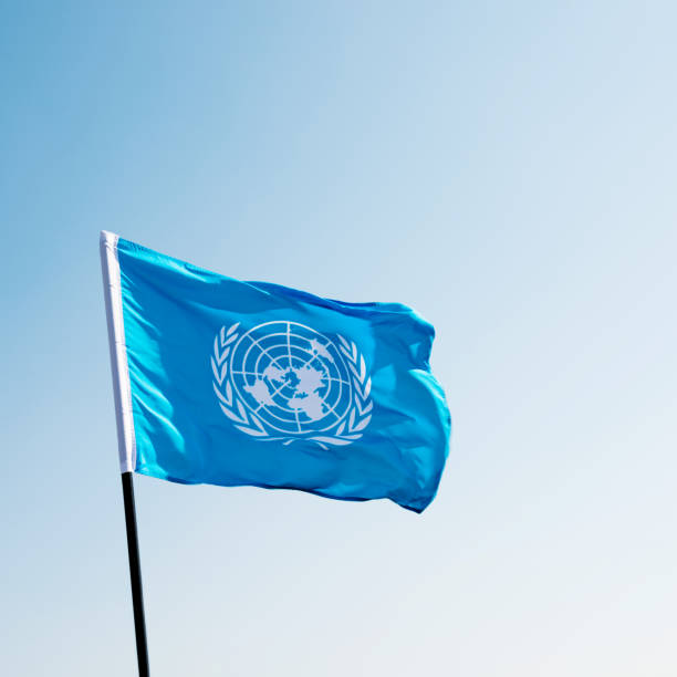 United Nations flag waving in the wind stock photo