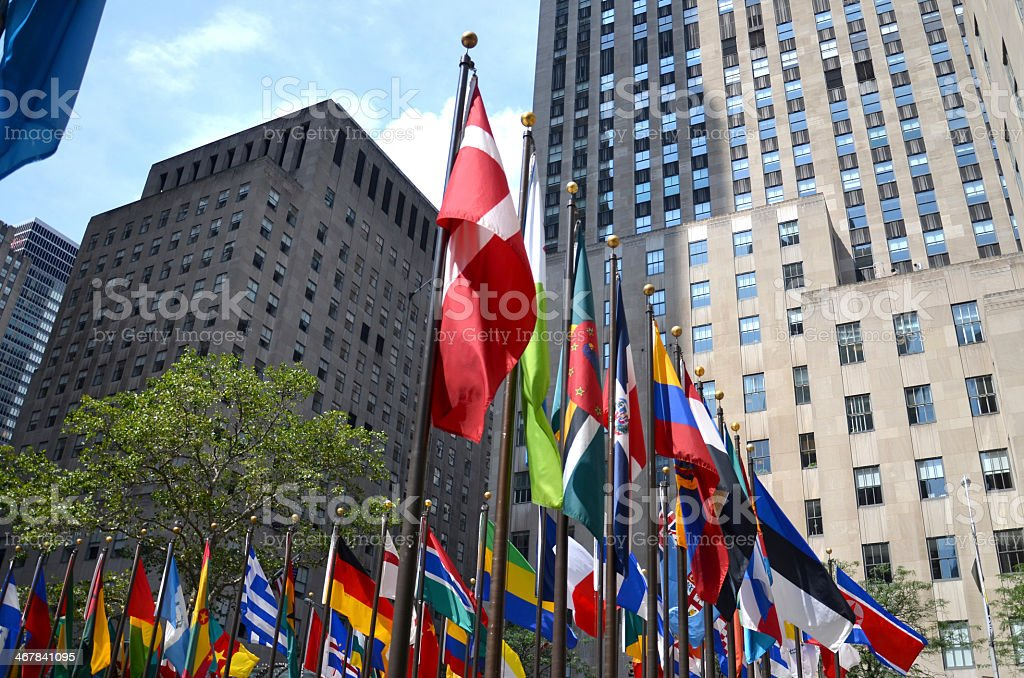 United Nations flags of the world stock photo