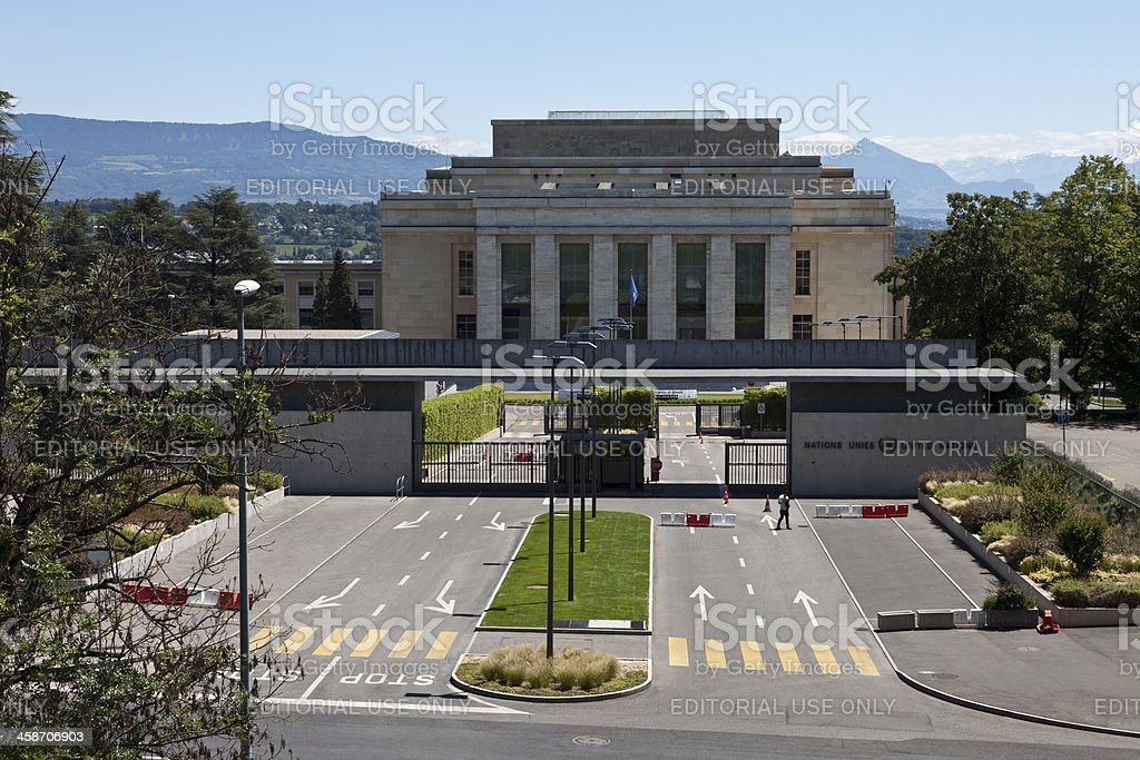 UN United Nations Headquarters Building in Geneva, Switzerland royalty-free stock photo
