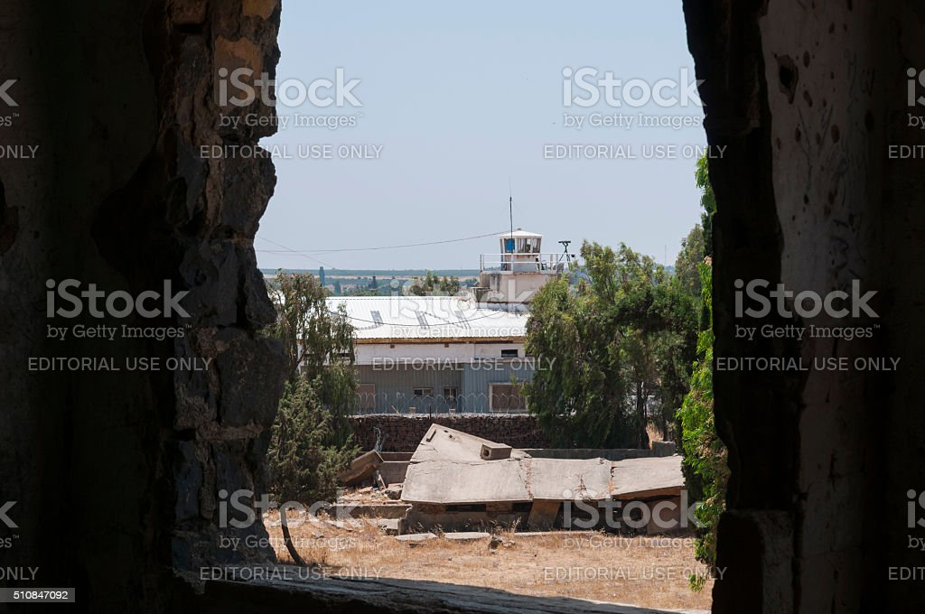 United Nations post in Quneitra, Syria stock photo
