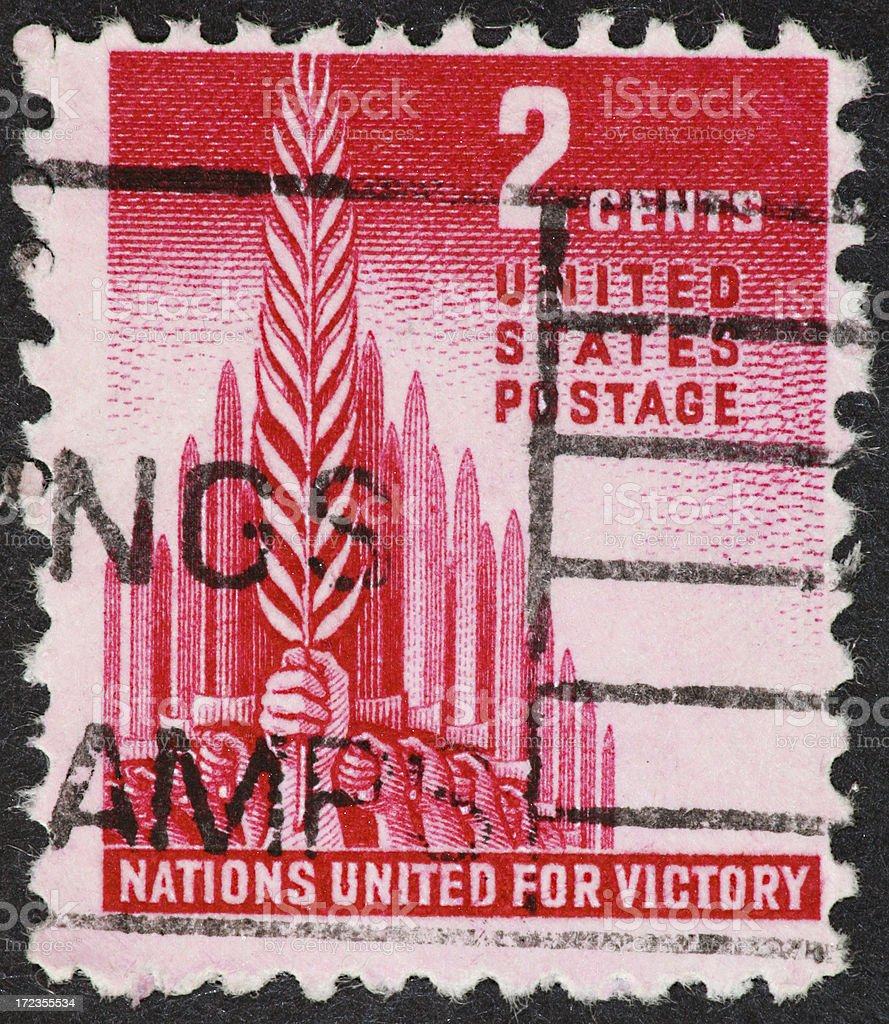 United Nations stamp 1943 royalty-free stock photo