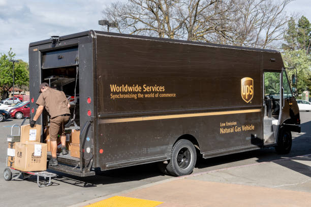 UPS - United Parcel Service- delivering stock photo