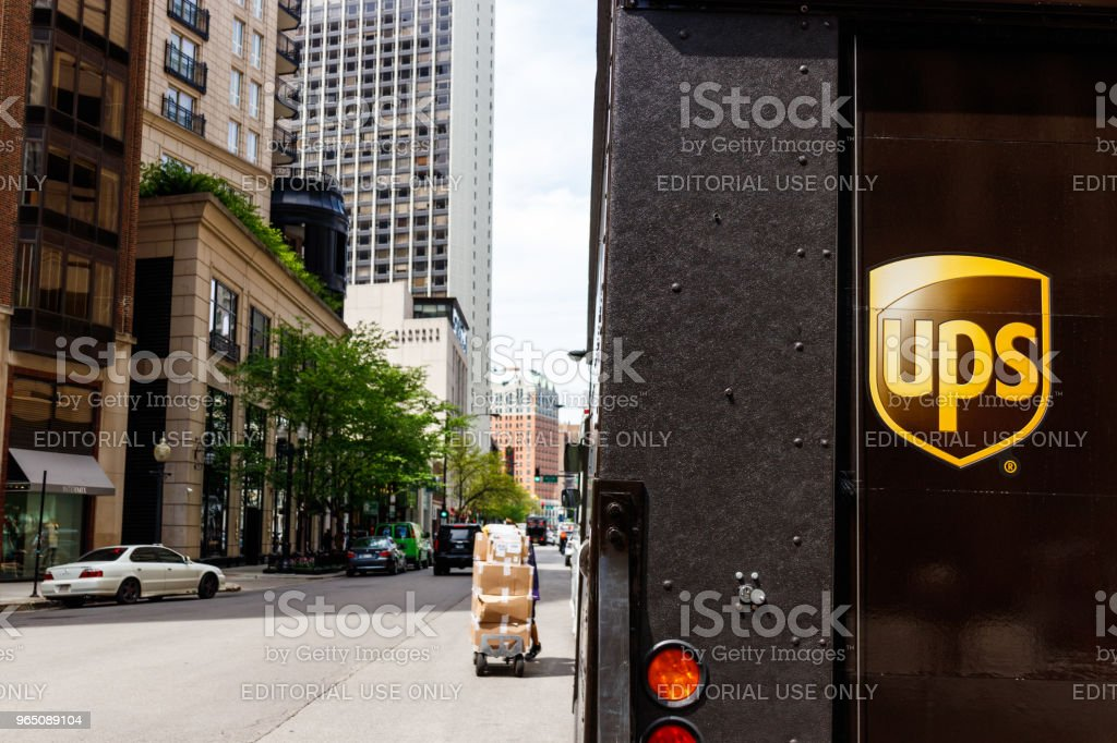 United Parcel Service Delivery Truck. UPS is the World's Largest Package Delivery Company I stock photo
