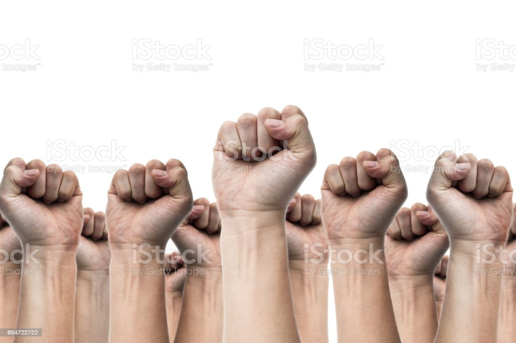 united people, labor movement, worker strike, election movement, protest illegal election concepts with males fist raised air fighting for their rights, isolated on white backgrounds stock photo