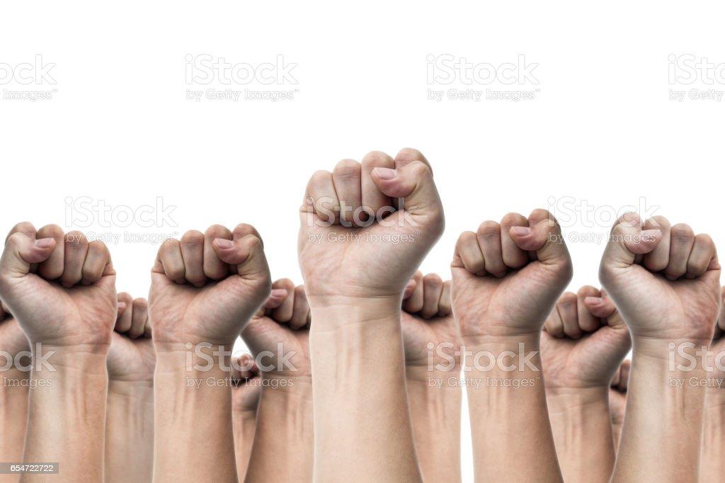 Verenigde mensen arbeidsbeweging werknemer staking, verkiezing beweging, protest illegale verkiezing concepten met mannen vuist verhoogde lucht vechten voor hun rechten, geïsoleerd op een witte achtergrond foto