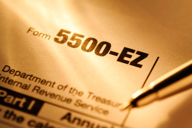 United State IRS form 5500-EZ in close up stock photo