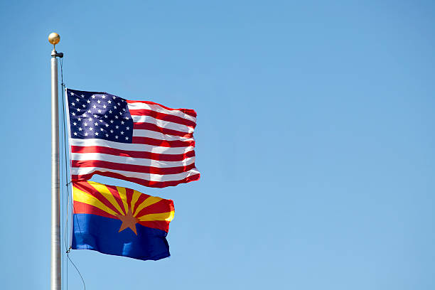 United States and Arizona Flag stock photo