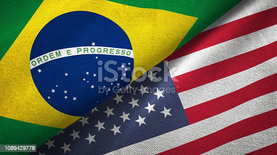 United States and Brazil flags together realtions textile cloth fabric texture