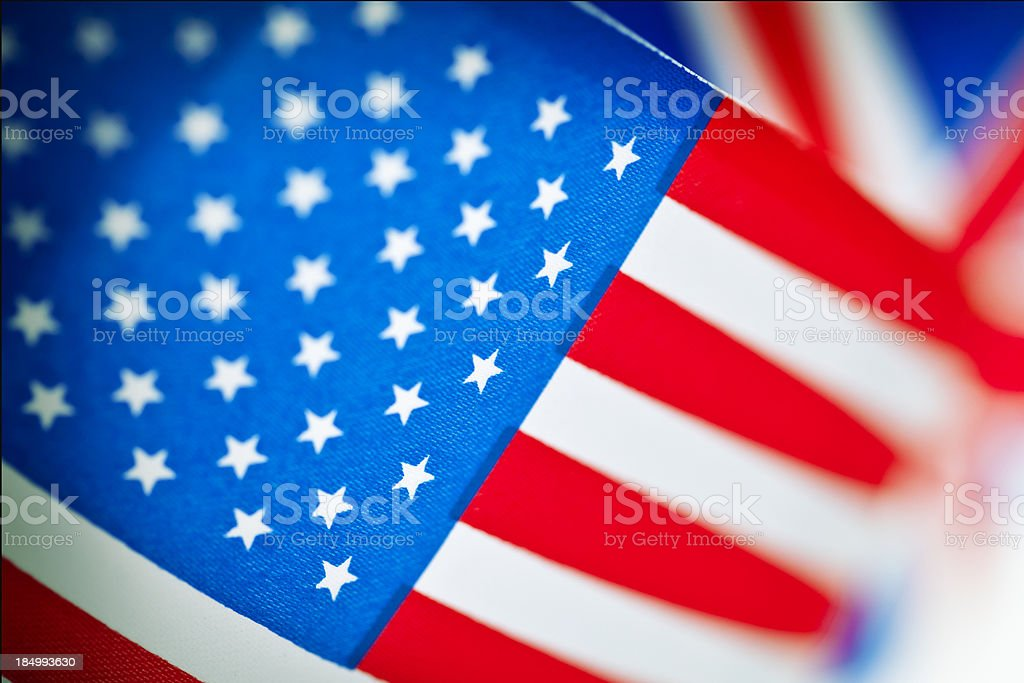 United States and British flags royalty-free stock photo