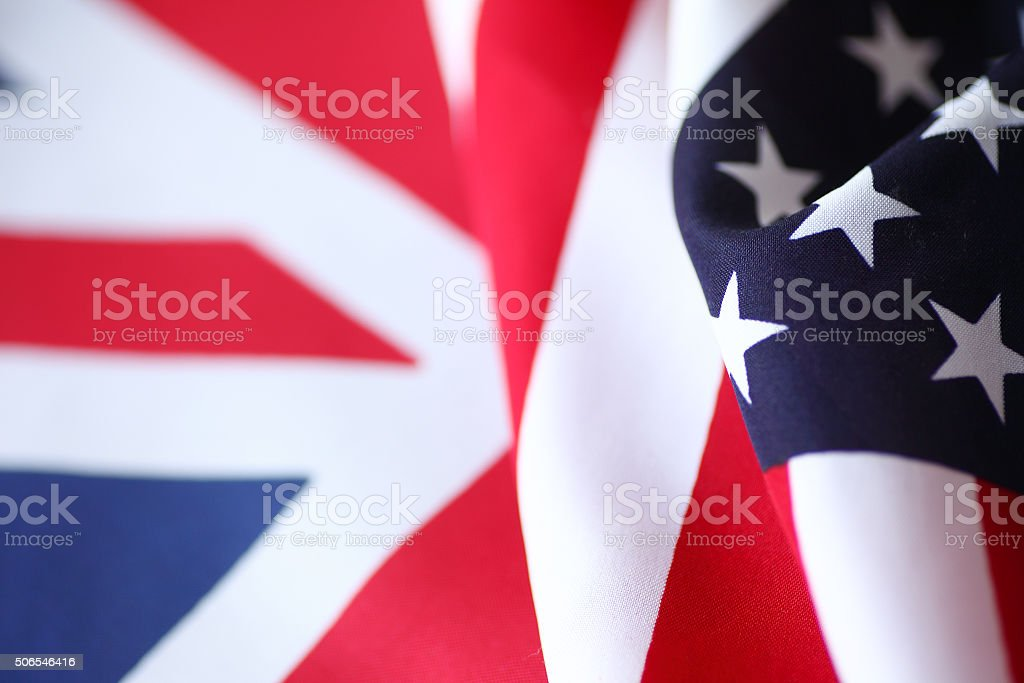 United States and British flags stock photo