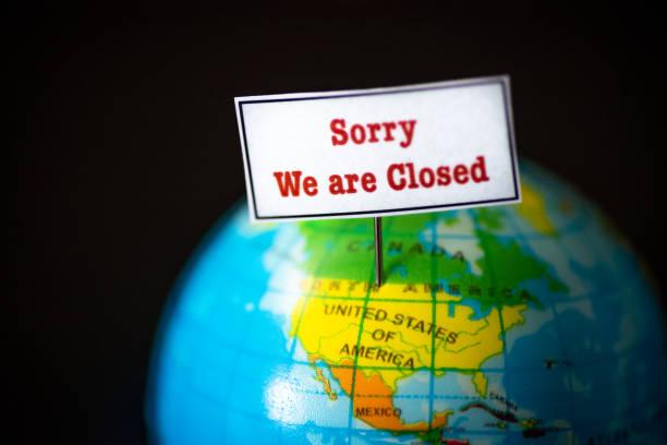 United States and Canada border is closed due to novel coronavirus covid-19 pandemic stock photo