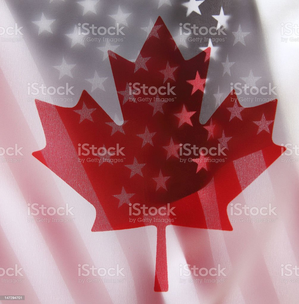 United States and Canada flags royalty-free stock photo