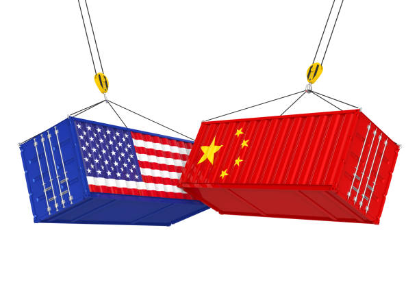 United States and China Cargo Container Isolated. Trade war Concept - foto stock