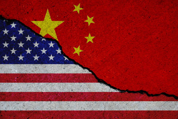 united states and china flags painted over cracked concrete wall united states and china flags painted over cracked concrete wall diplomacy stock pictures, royalty-free photos & images