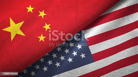 United States and China flag together realtions textile cloth fabric texture