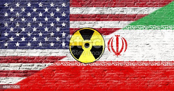 istock United states and Iran - National flags on Brick wall 489871004