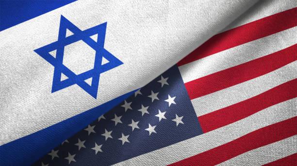 estados unidos e israel duas bandeiras têxtil juntos pano tecido textura - israel - fotografias e filmes do acervo